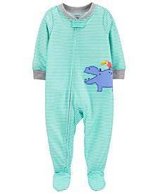 Toddler Boys 1-Piece Hippo Loose Fit Footie Pajamas
