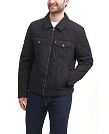 Men's Diamond Quilted Cotton Trucker Jacket