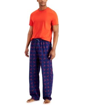 Men's 2-Pc. Solid Sleep T-Shirt & Lobster-Print Pajama Pants Set