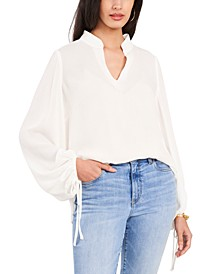 Puffed-Sleeve Textured Top