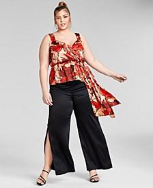 Trendy Plus Size Sleeveless Peplum Top, Created for Macy's
