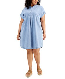 Plus Size Chambray Camp Shirtdress, Created for Macy's
