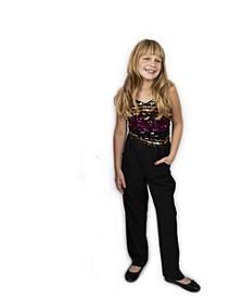 Big Girls Sequin Stripe Top Jumpsuit