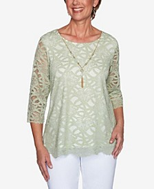 Plus Size Springtime in Paris Solid Lace with Necklace Top