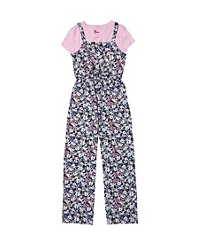 Big Girls Short Sleeve Top with Floral Jumper Set