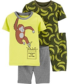 Toddler Boys Monkey Snug Fit Pajamas, 4 Piece
