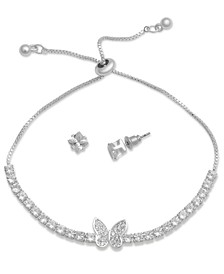 Fine Silver Plated Cubic Zirconia Adjustable Butterfly Bracelet and Stud Earring Set