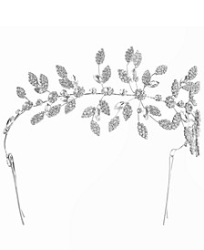 INC Silver-Tone Crystal Leaf Statement Bobby Pin Headband, Created for Macy's