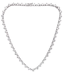 "Cubic Zirconia Round Graduated 18"" Necklace in Fine Silver Plate"