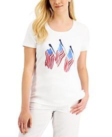 Petite Flag-Print T-Shirt, Created for Macy's