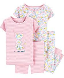 Baby Girls Floral Cat Snug Fit Pajamas Set, 4 Piece