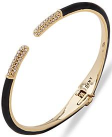Gold-Tone Enamel Pavé Open Cuff Bracelet