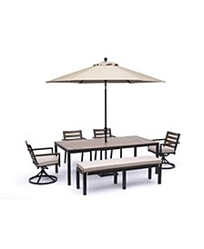"""Stockholm Outdoor Aluminum 6-Pc. Dining Set (84"""" x 42"""" Rectangle Dining Table, 2 Dining Chairs, 2 Swivel Rocker Chairs & Bench) with Sunbrella® Cushions, Created for Macy's"""