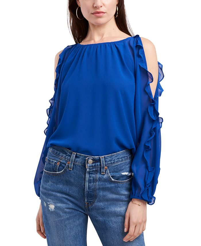 1.STATE - Ruffled Cold-Shoulder Top