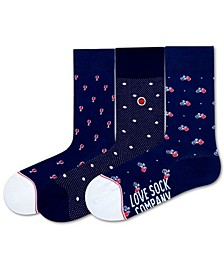 Paris Bundle Women's 3 Pack Organic Cotton Colorful Fun Funky Crew Socks