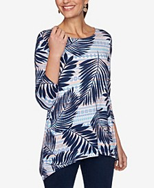 Plus Size Knit Palm Stripe Top
