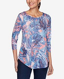 Plus Size Knit Embellished Floral Top