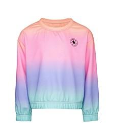 Big Girls Rainbow Soft and Light Hacci Knit Sweatshirt