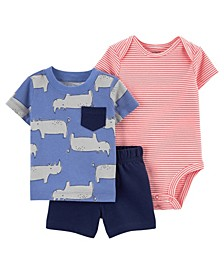 Baby Boys Rhino Little Short Set, 3 Pieces