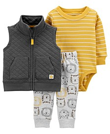 Baby Boys and Girls Lion Little Vest Set, 3 Pieces
