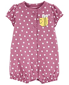 Baby Girls Polka Dot Snap-Up Romper