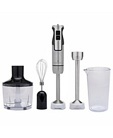InterMix 500 Watt 9-Speed Immersion Multi-Purpose Hand Blender Heavy Duty with Immersion Depth Wands, Beaker, Whisk and Chopper Attachments