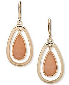 Gold-Tone Stone Teardrop Orbital Drop Earrings