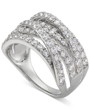 Cubic Zirconia Multirow Statement Ring in Sterling Silver
