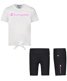 Baby Girls 2-Pc. Tie-Front T-Shirt & Biker Shorts Set