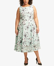 Plus Size Floral-Print Illusion-Striped Dress