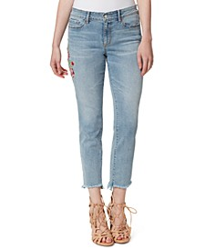 Embroidered Straight-Leg Raw-Hem Ankle Jeans