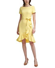 Ruffled Tulip-Hem Crepe Dress