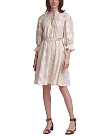 Textured Stripe Balloon-Sleeve Dress