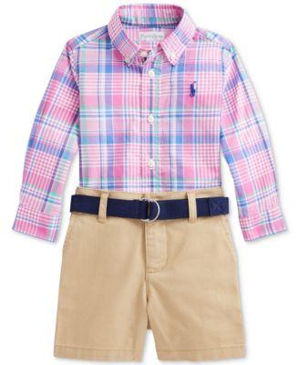 폴로 랄프로렌 Polo Ralph Lauren Baby Boys Plaid Shirt, Belt & Shorts Set,5125B Blue/pink Multi
