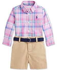Ralph Lauren Baby Boys Plaid Shirt, Belt & Shorts Set
