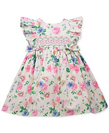 Baby Girls Floral-Print Poplin Dress