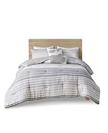 Hayes Full/Queen Woven Stripe Cotton Gauze Comforter, Set of 5