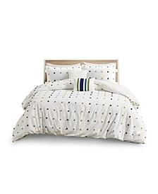 Callie Full/Queen Cotton Jacquard Pom Pom Comforter, Set of 5