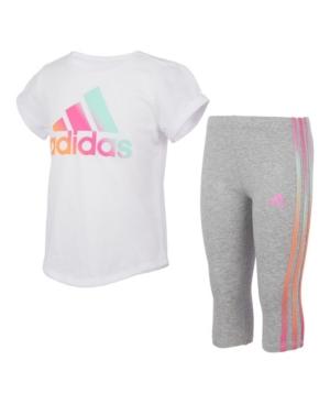 Adidas Originals TODDLER GIRLS SHORT SLEEVE TOP AND IRIDESCENCE 3-STRIPE CAPRI TIGHT SET, 2 PIECE