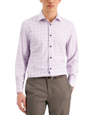 Con. Struct Men's Slim-Fit Cooling Comfort Performance Stretch Gingham Plaid Dress Shirt with Pleated Face Mask