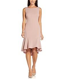 Metallic-Knit Cowl-Back Fit & Flare Dress