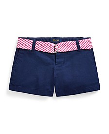 Toddler Girls Belted Stretch Chino Shorts