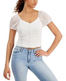 Juniors' Ruched Mesh Top