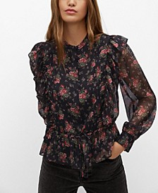 Women's Ruffled Floral Blouse