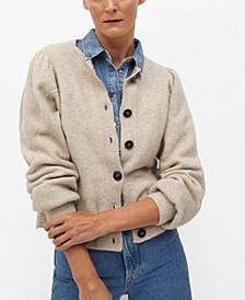 Women's Puffed Sleeves Cardigan