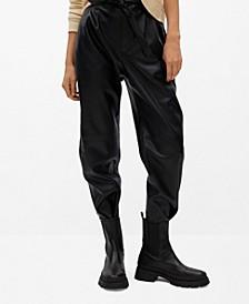 Women's Darts Faux-Leather Pants