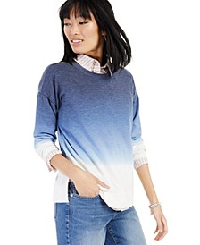 Dip-Dyed Layered-Look 3/4-Sleeve Top, Created for Macy's