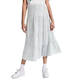 Juniors' Floral-Print Tiered Skirt