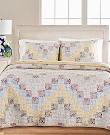Checker Floral 100% Cotton King Quilt, Created for Macy's