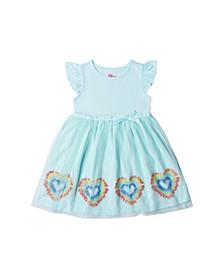 Toddler Girls Short Flutter Sleeve All Over Print Tutu Dress